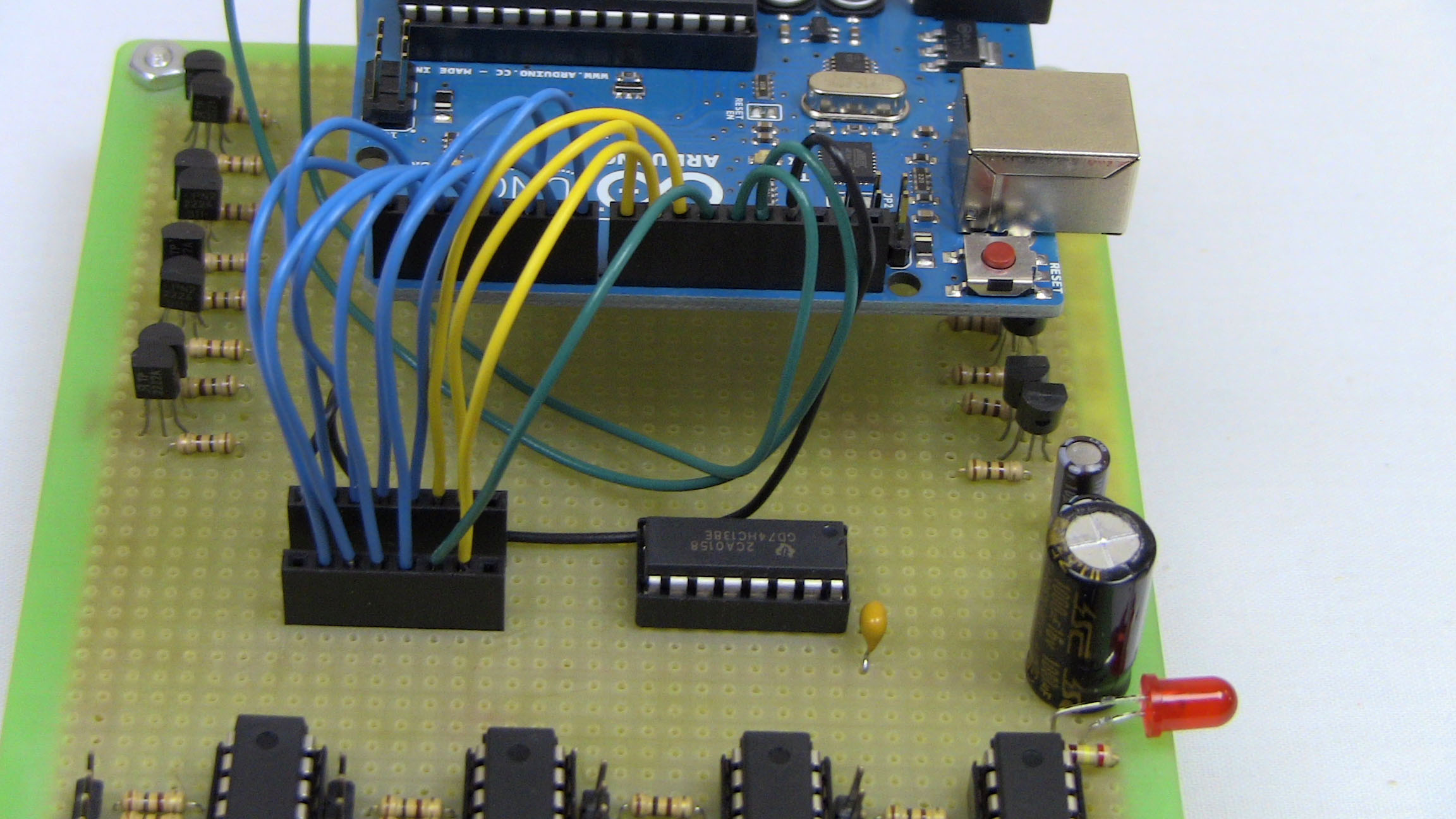 8x8x8 Led Cube Cable Assembly Pyroelectro News Projects Tutorials Simple Pic Usb Interface Schematic Alright Fine One More Thing To Do Connect The 5v Pin Of Arduino Power Bus On Protoboard Use A Red Wire Please