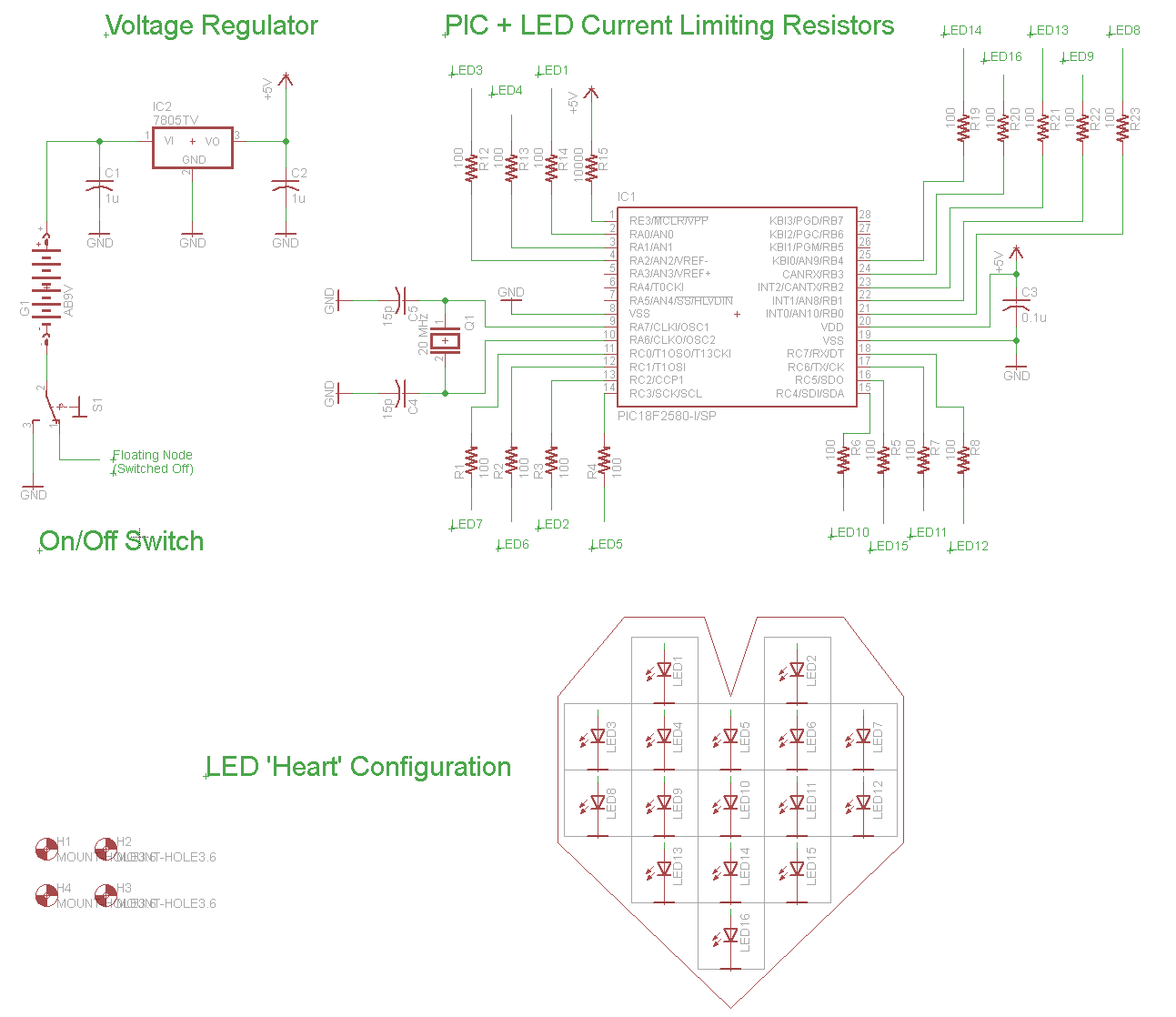 LED Heart PWM Fading - Schematic PCB Layout | PyroElectro - News ...