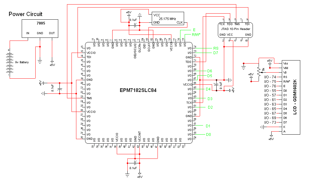FPGA / CPLD 16x2 LCD Interface - Schematic | PyroElectro
