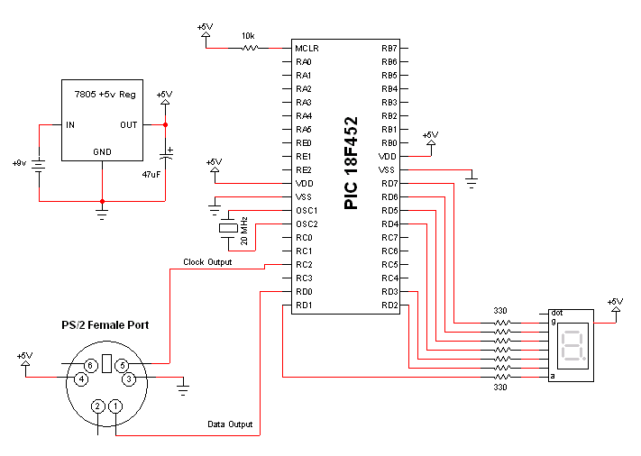ps 2 keyboard interface schematic pyroelectro news projects rh pyroelectro com c64 keyboard schematic keyboard schematic circuit