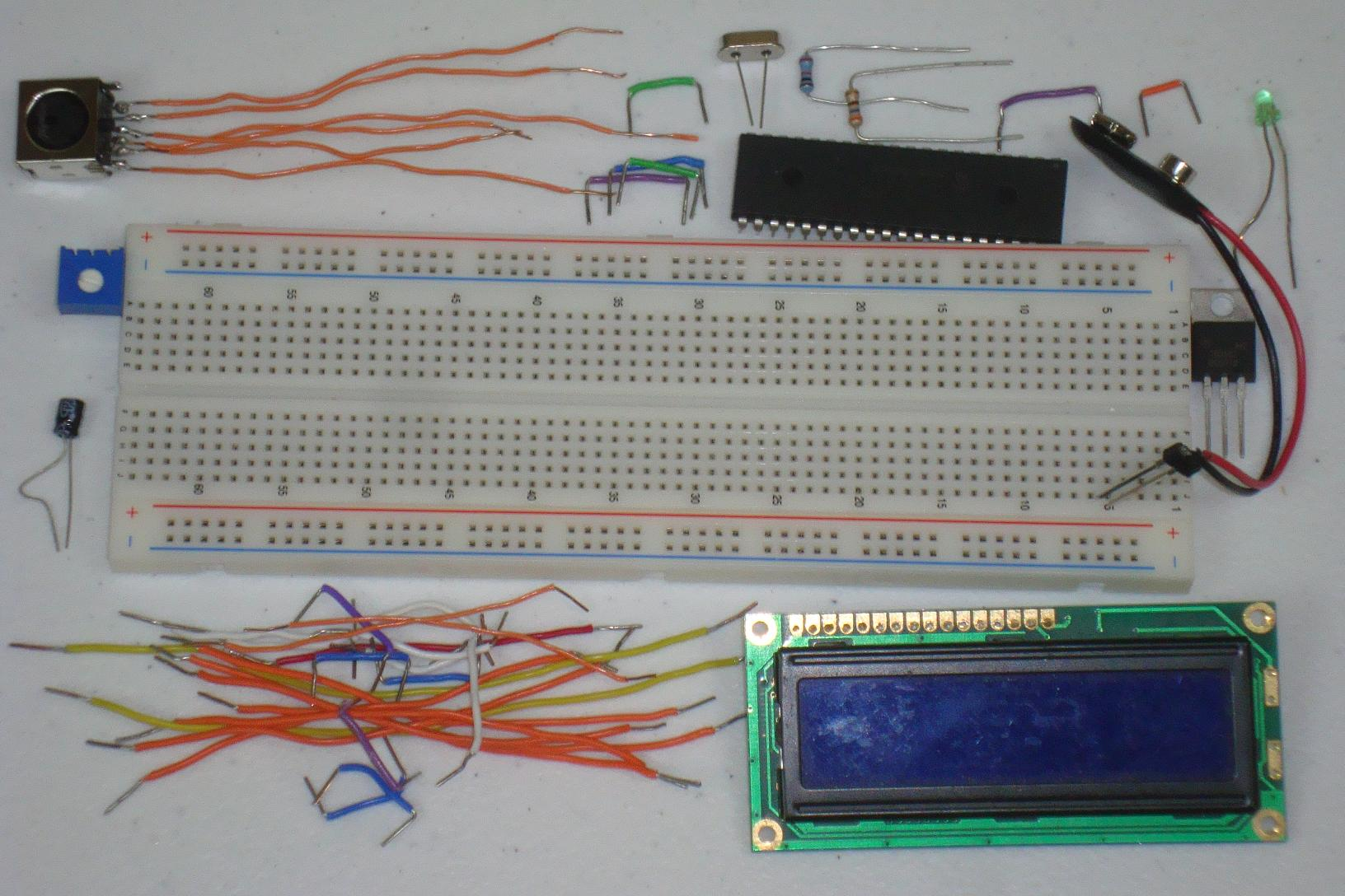 Ps 2 Keyboard To 16x2 Lcd Hardware Pyroelectro News Projects Building Your First Breadboard Circuit The Power Regulator Is Connected On
