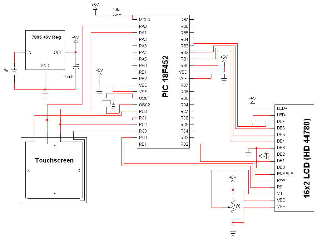 Simple Touch Screen Interface - Schematic