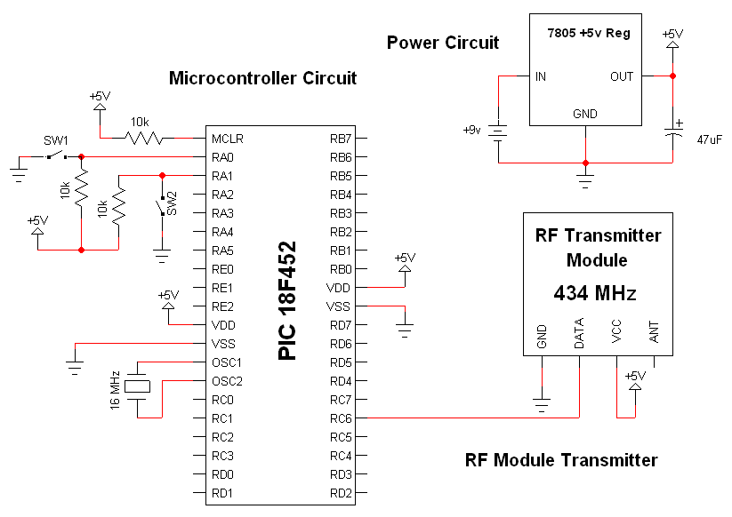 Wireless Transmitter And Receiver Circuit Diagram | Wireless Interface Rf Modules Schematic Pyroelectro News